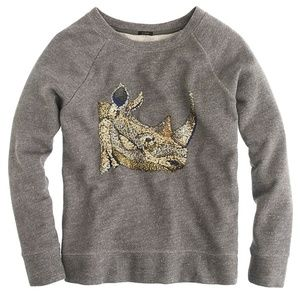 J. Crew Gold Sequin Beaded Rhino Sweatshirt, S